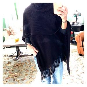 Black shawl with fringe, sweater-like material